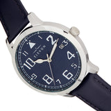 Elevon Sabre Leather-Band Watch w/Date - Silver/Navy/Navy - ELE121-3