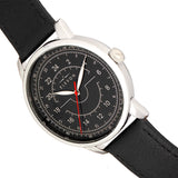 Elevon Gauge Leather-Band Watch - Silver/Black - ELE122-2