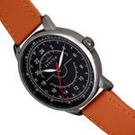 Elevon Gauge Leather-Band Watch - Gunmetal/Light Brown - ELE122-6