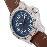 Elevon Aviator Leather-Band Watch w/Date - Brown/Blue - ELE120-11