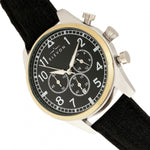 Elevon Curtiss Chronograph Nylon-Overlaid Leather-Band Watch - Gold/Black - ELE104-3