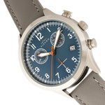 Elevon Antoine Chronograph Leather-Band Watch w/Date - Grey/Blue - ELE113-6