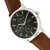 Elevon Lear Leather-Band Watch w/Day/Date - Brown/Silver - ELE107-2