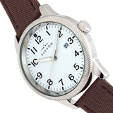 Elevon Bandit Leather-Band Watch w/Date - Brown/White - ELE118-1