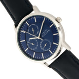 Elevon Lear Leather-Band Watch w/Day/Date - Blue - ELE107-3