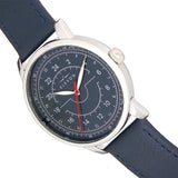 Elevon Gauge Leather-Band Watch - Silver/Navy - ELE122-3