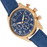 Elevon Curtiss Chronograph Nylon-Overlaid Leather-Band Watch - Rose Gold/Blue - ELE104-4