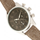 Elevon Curtiss Chronograph Nylon-Overlaid Leather-Band Watch - Silver/Brown - ELE104-2