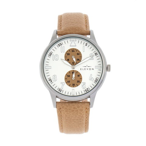 Elevon Turbine Leather-Band Watch - Silver/Khaki - ELE116-1