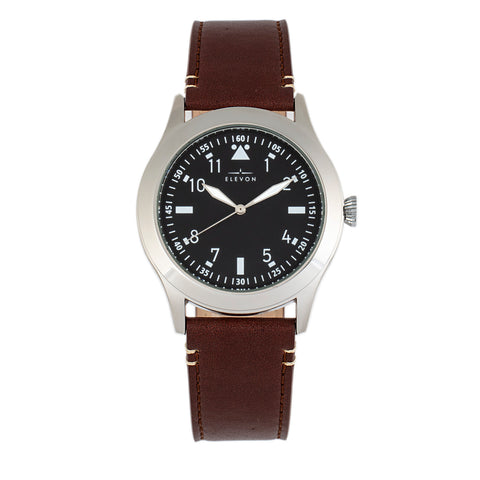 Elevon Hanson Genuine Leather Watch - Black - ELE117-1