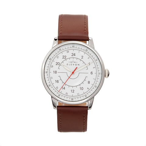 Elevon Gauge Leather-Band Watch