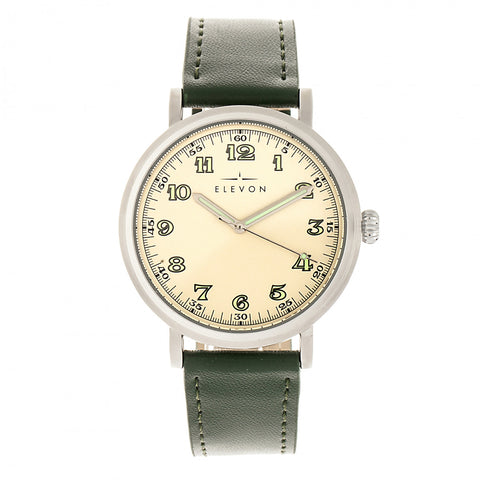 Elevon Felix Leather-Band Watch - Silver/Green - ELE109-1