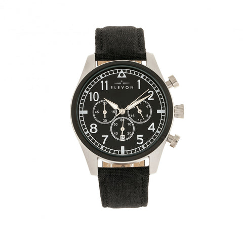 Elevon Curtiss Chronograph Nylon-Overlaid Leather-Band Watch - Silver/Black - ELE104-1