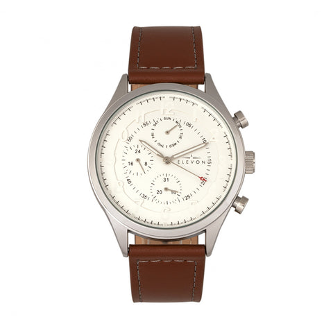 Elevon Lindbergh Leather-Band Watch w/Day/Date -  Brown/White - ELE102-1