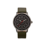 Elevon Gauge Leather-Band Watch - Gunmetal/Olive - ELE122-5