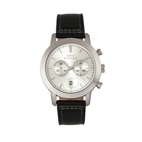 Elevon Langley Chronograph Leather-Band Watch w/ Date - Silver/Black - ELE103-1