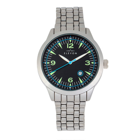 Elevon Atlantic Bracelet Watch w/Date - Silver/Black - ELE119-1