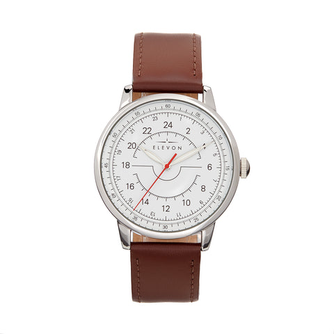 Elevon Gauge Leather-Band Watch - Silver/Dark Brown - ELE122-1