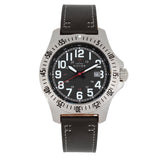 Elevon Aviator Leather-Band Watch w/Date - Black - ELE120-9
