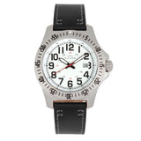 Elevon Aviator Leather-Band Watch w/Date - Black/White - ELE120-8