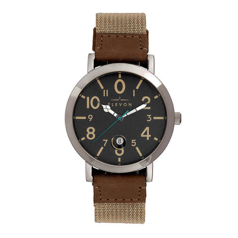 Elevon Mach 5 Canvas-Band Watch w/Date - Light Brown - ELE123-1