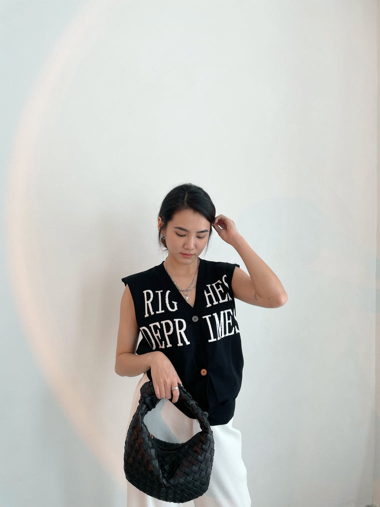 Button Vest BLACK