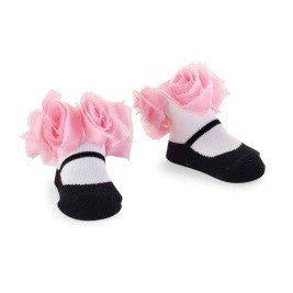 Mud Pie Pink Chiffon Rosette Socks.