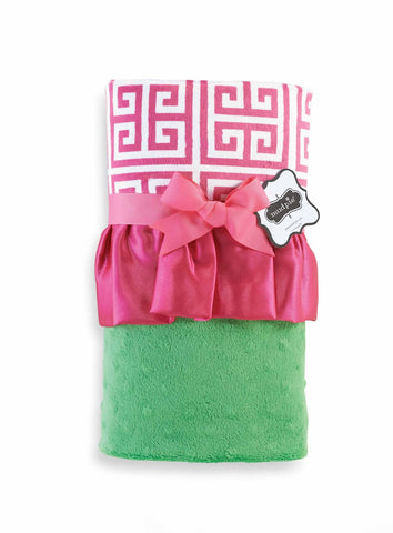 Mud - Pie pink& green Greek Key Blanket .