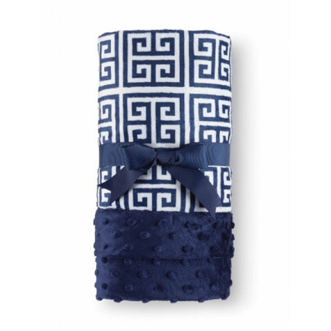 Mud - Pie Navy Greek Key Blanket .