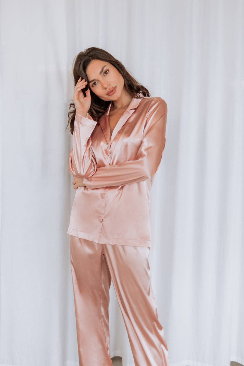 Lily Satin Pyjamas Set Rouge