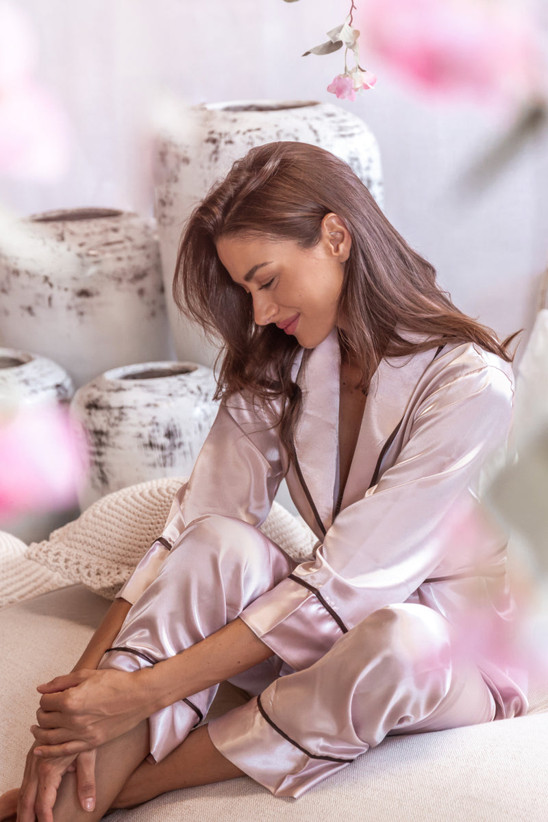 Lila Satin Pyjamas Set