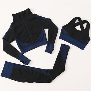 Full Gym Sportswear Set For Women (Cropped Top, Sports Bra & Leggings)