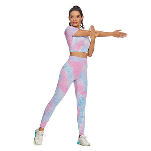 Tie Dye Two Piece Set Yoga Tights Tracksuit