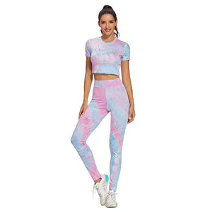 Open image in slideshow, Tie Dye Two Piece Set Yoga Tights Tracksuit