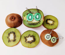 Load image into Gallery viewer, Kiwi Earrings: Fruit, Kiwis, Summer Vibes