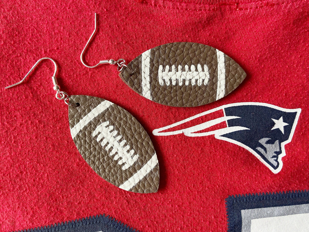 Football Earrings (Faux Leather): Sports, NFL, Tailgate, Tailgating