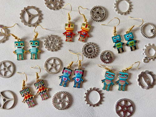 Robot Rainbow Earrings: ColorfulRobots, Science, Technology, Robotics Engineer