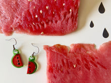 Load image into Gallery viewer, Watermelon Earrings (Glass): Fruit, Summer Vibes