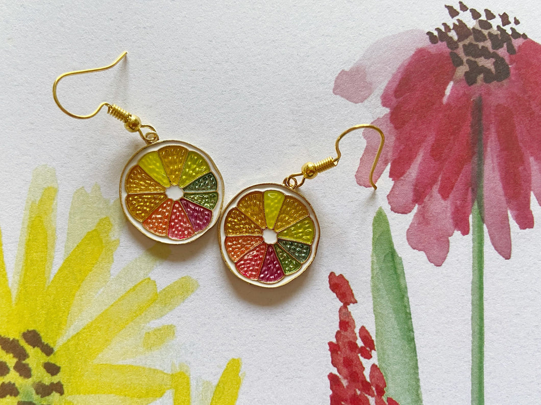 Rainbow Grapefruit Earrings: Pride, Colorful, Citrus, Summer Vibes