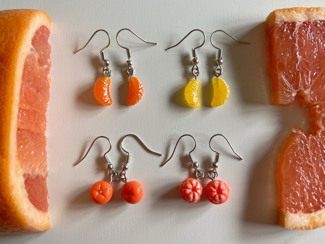 Mandarin Earrings: Fruit, Orange Slice, Oranges