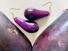 Load image into Gallery viewer, Eggplant Earrings (Giant Lightweight): Vegetable, Farm, Pod, Gardening, Aubergine