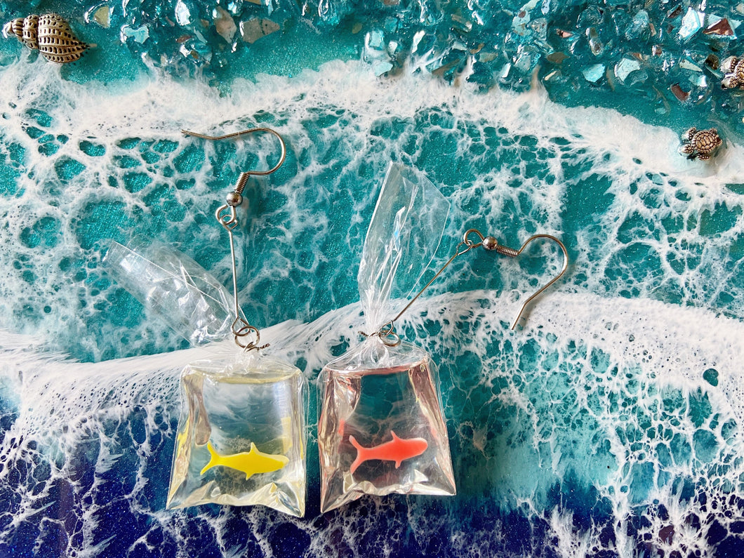 Fish in a Bag Earrings: Aquarium, Animals, Goldfish