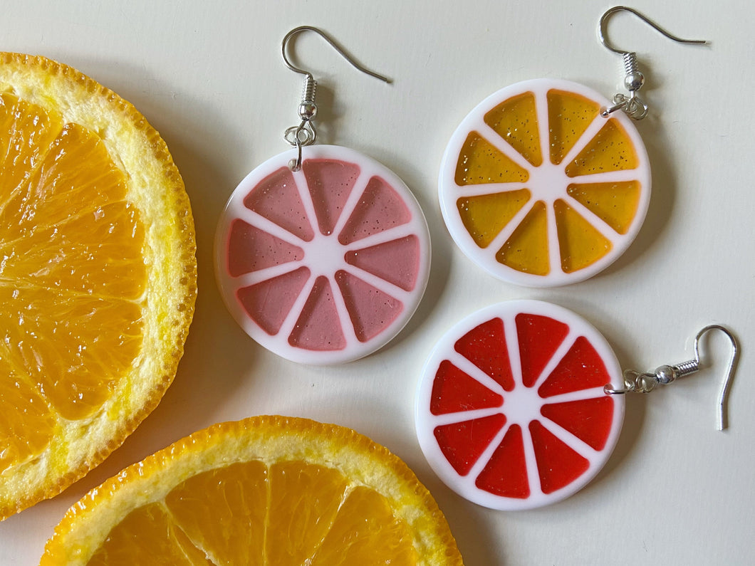 Citrus Slice Earrings, Lemon, Grapefruit, Fruit, Summer Vibes