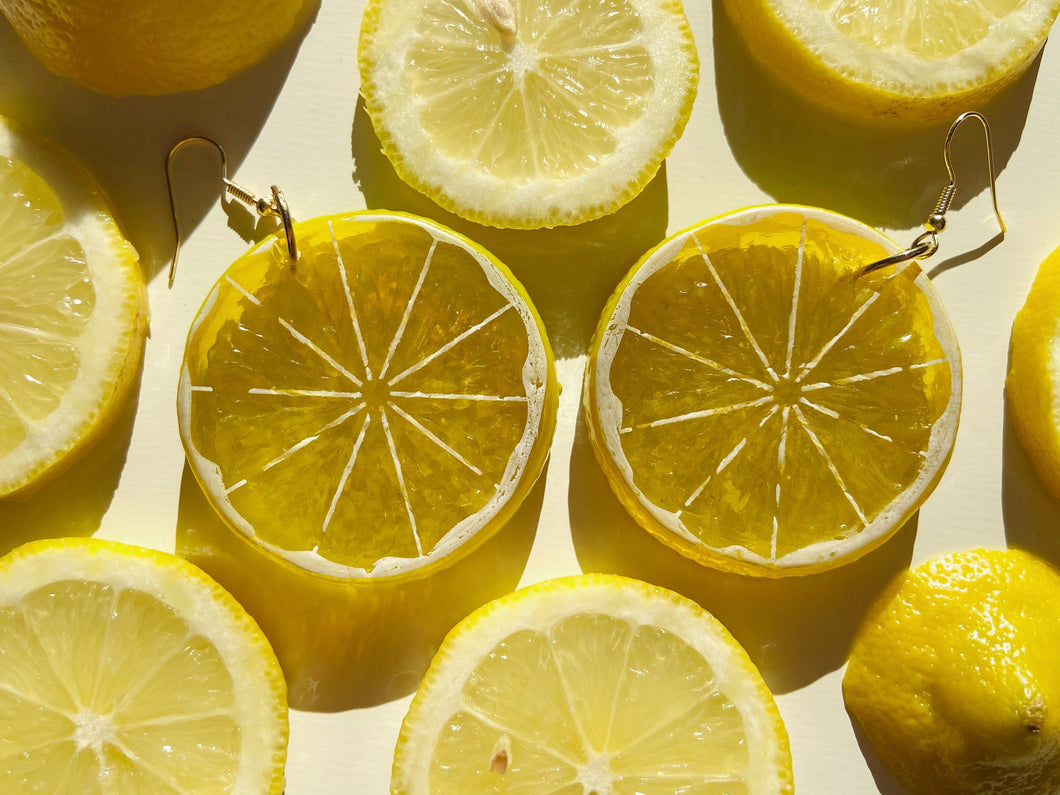 Lemon Earrings (Giant Lightweight): Citrus, Lemonade, Fruit