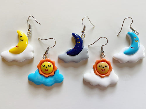 Sun & Moon Earrings: Clouds, Weather, Nature, Climate