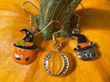 Load image into Gallery viewer, Cat & Jack-o-lantern Halloween Earrings: Pumpkin, Scary, Spooky, Horror