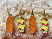 Load image into Gallery viewer, Baguette Sandwich Earrings: Bread, Cheese, Food, Subway Inspired