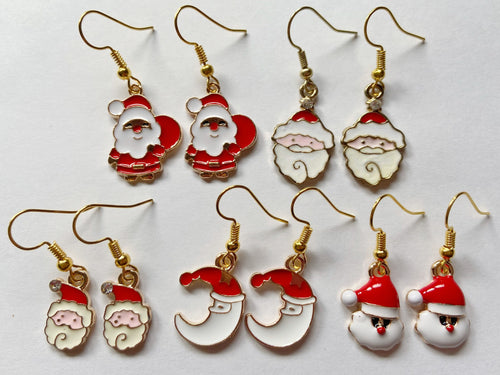 Santa Clause Earrings: Christmas, Holiday, Moon, Father Christmas