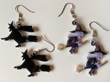 Load image into Gallery viewer, Witches Earrings: Flying Broom, Halloween, Horror, Scary, Spooky