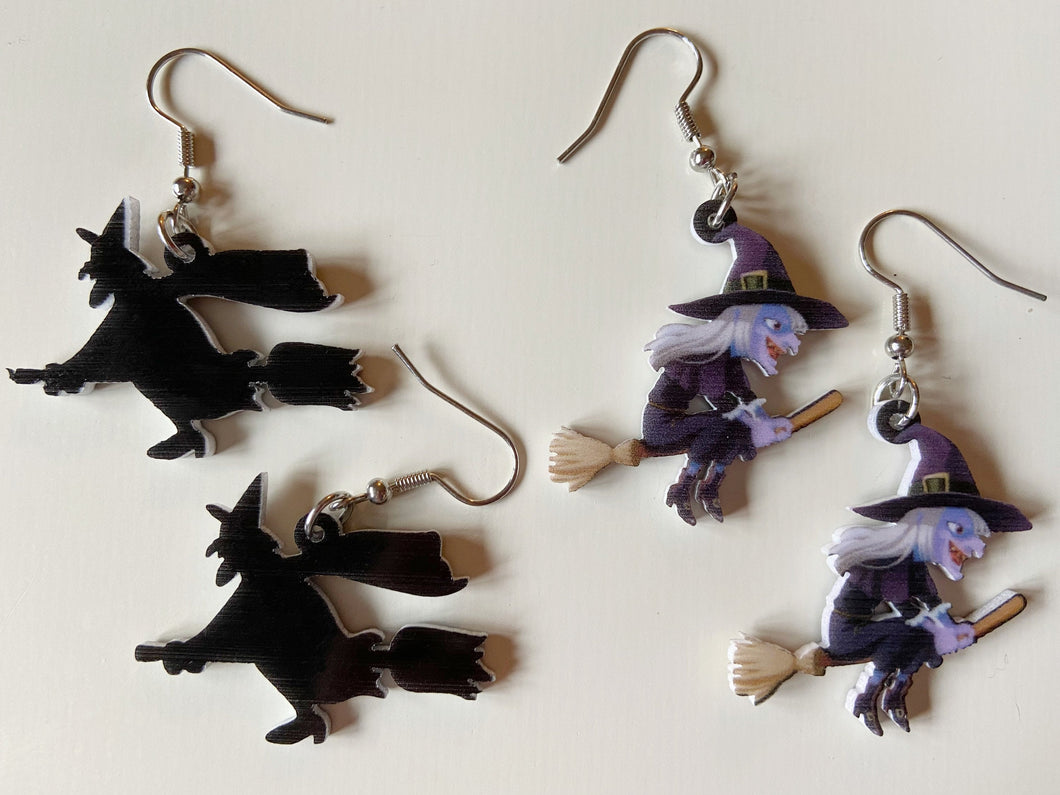 Witches Earrings: Flying Broom, Halloween, Horror, Scary, Spooky